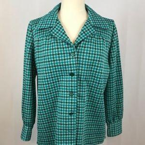 70's Mod Teal Houndstooth Leisure Jacket shirt